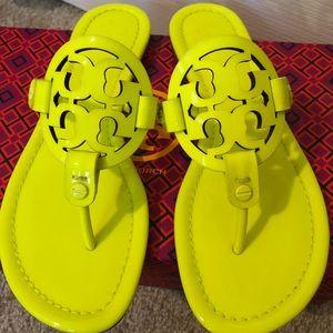 c701247d862f5 Tory Burch Shoes - EUC Tory Burch Miller Sandals size 6 - neon yellow